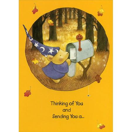 Recycled Paper Greetings Bear at Mailbox Halloween - Halloween Greetings Card Verse