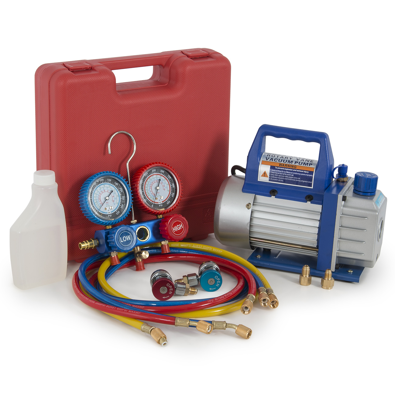 Arksen 1/2HP 5CFM Single Stage Vacuum Pump and R134a Mani...