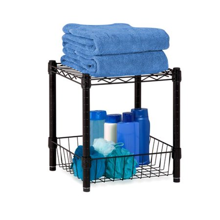 Honey Can Do Urban Table With Storage Basket Black