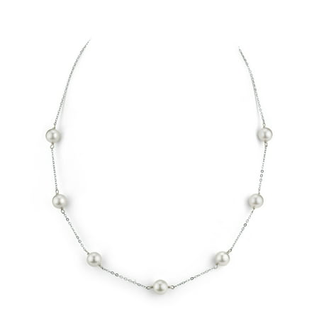 14K Gold 7.5-8.0mm Japanese Akoya Cultured Pearl Tincup Necklace - AAA Quality