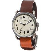 Mens Ink Stainless Steel Case Brown and Orange Leather Strap Beige Dial Silver Watch - T615-OR