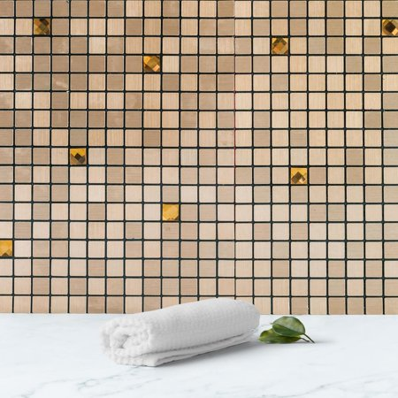 Efavormart 10 Pack Self-adhesive Copper Metal Backsplash Peel & Stick Mosaic Wall Tile With Rhinestones - 12
