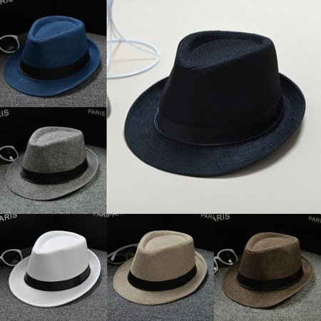 Old Gangster Hats (Cool Unisex Vintage Blower Jazz Hat Women/Men Casual Trendy Beach Sunhats Straw Panama Cap Cowboy Fedora Gangster Cap with Black)