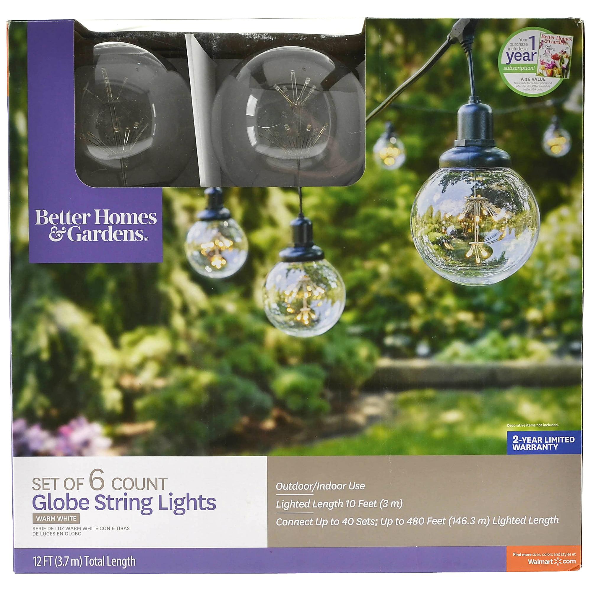 Better Homes & Gardens Bhg 6 Count Led Xl Globe String Lights by Better Homes & Gardens