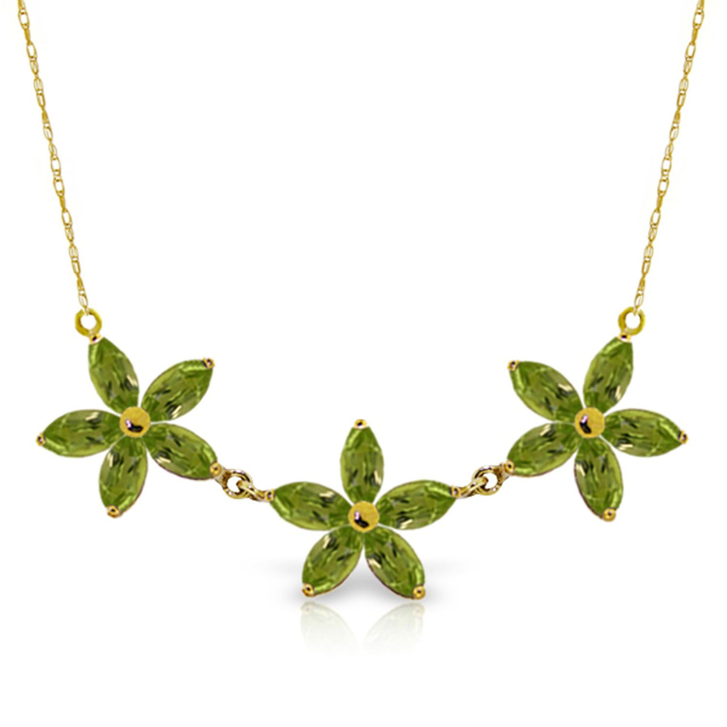 ALARRI 14K Solid Rose Gold Necklace w// Natural Peridot with 18 Inch Chain Length