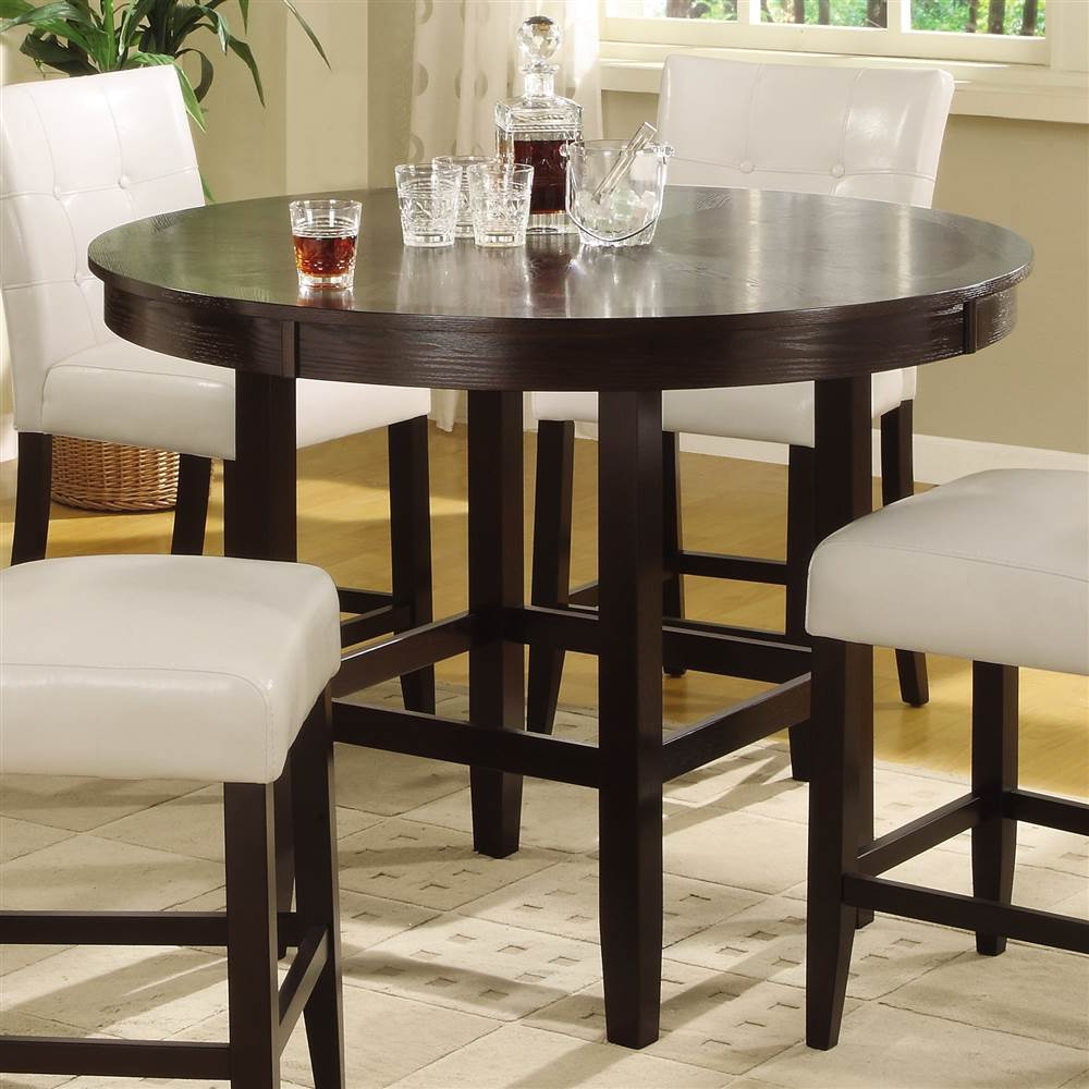 Bossa 48 in. Dining Round Counter Table in Dark Chocolate Finish