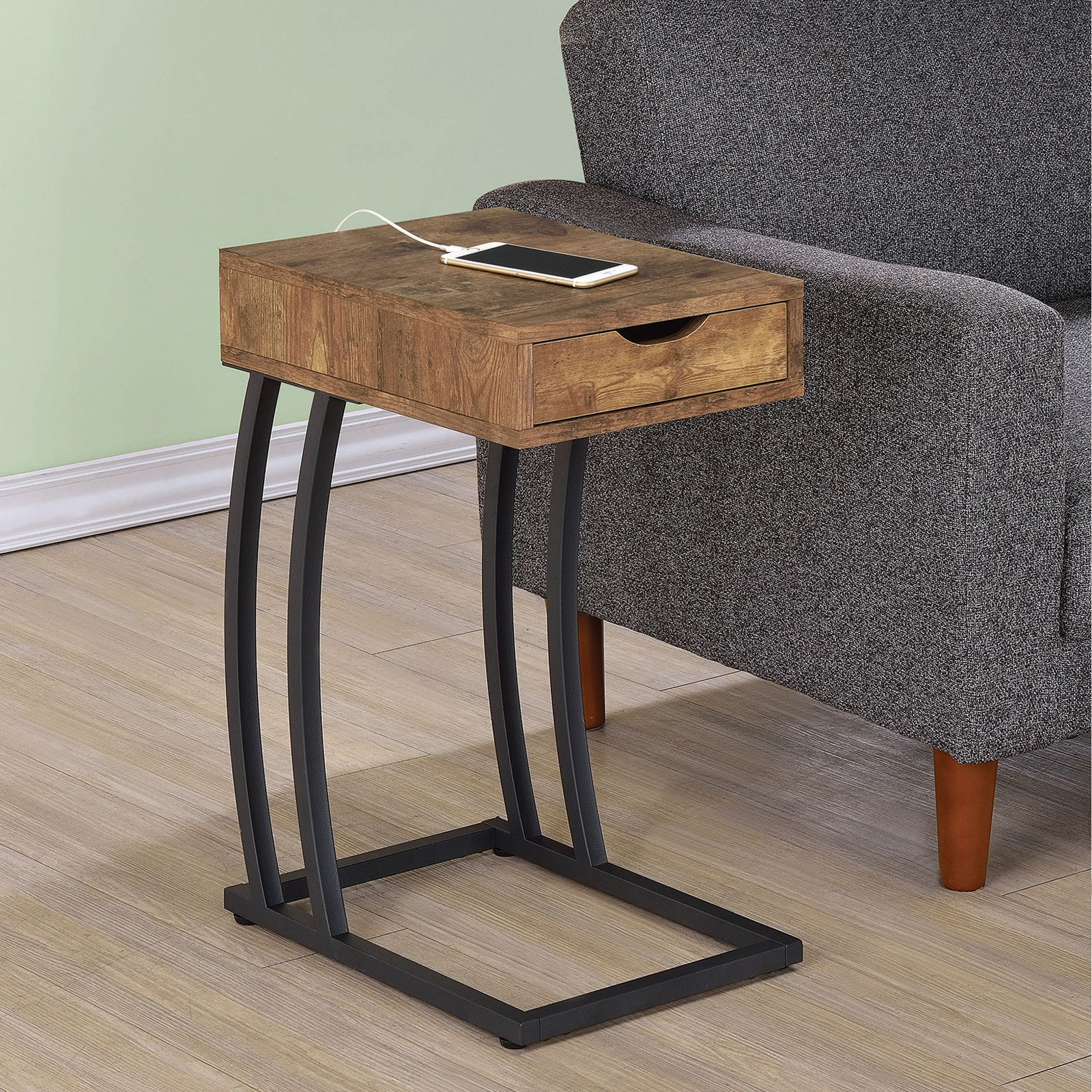 Coaster Furniture Metal and Wood C-Shaped Accent Table by Coaster