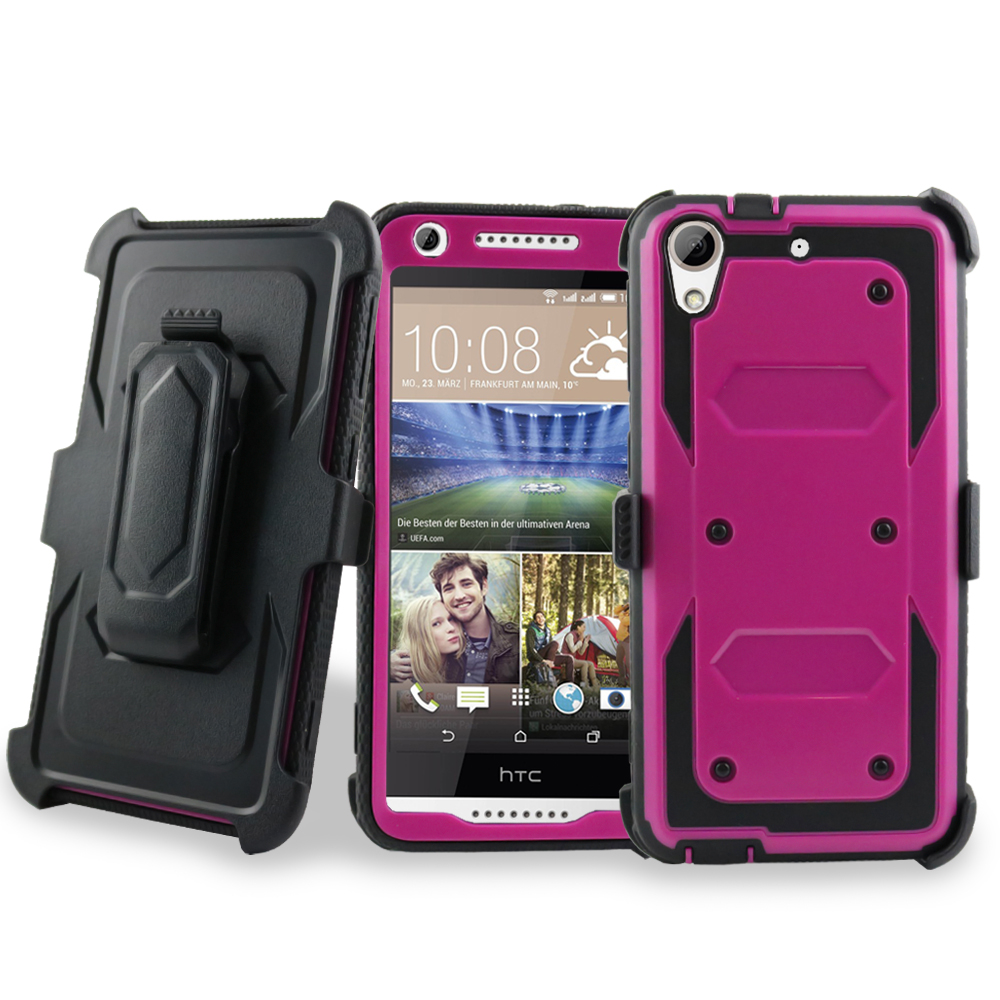 for HTC Desire 626 626s Case Phone Case Holster Armor Jousting Shield Swivel Clip Kickstand Screen Protector Hybrid Cover Hot Pink Black