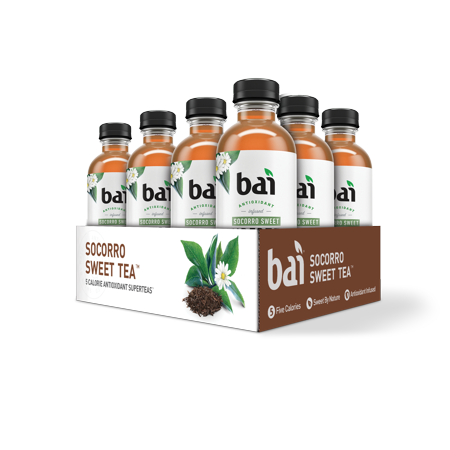 Nutcracker Sweets Sweet Tea - Bai Supertea Antioxidant Infused Beverage, Socorro Sweet Tea, 18 Fl Oz, 12 Count