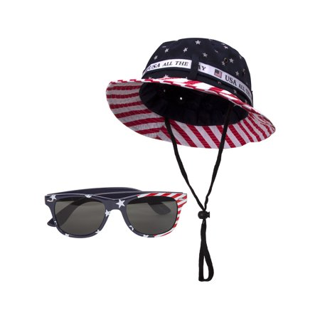 Striped Terry Hat - USA Stars and Stripes Kit - Bucket Hat + Sunglasses