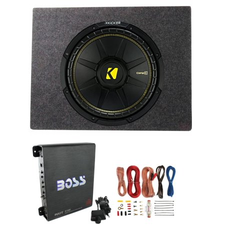 Kicker Comps 500W Subwoofer + Q Power Truck Enclosure + Boss 1100W A/B Amplifier (Subwoofer Kicker Comp R)