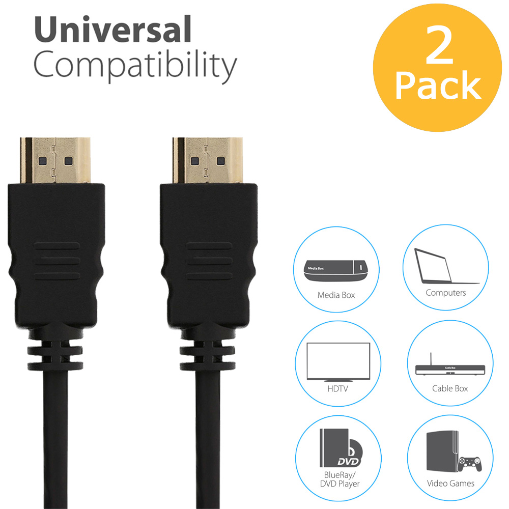 Fosmon 4K 10FT 2 Pack HDMI Cable Supports 3D HD 1080p for PS3/PS4, XBox 360/One, Nintendo Switch/Wii, HDTV, Blu-Ray