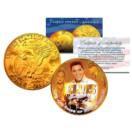 - 1977 ELVIS PRESLEY 24K Gold Plated Eisenhower IKE Dollar *Officially Licensed*
