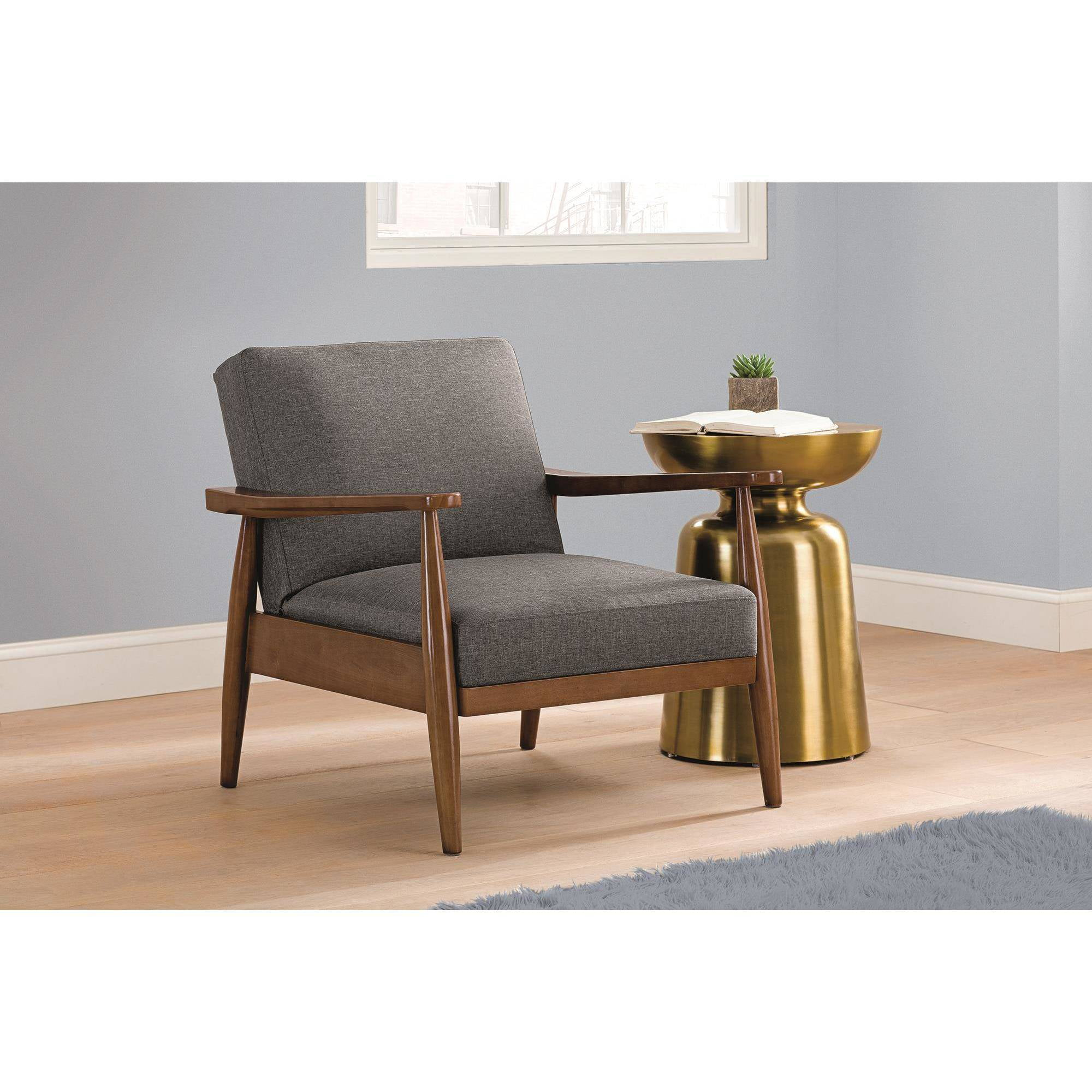 Better Homes and Gardens Flynn Mid-Century Chair Wood with Linen ...