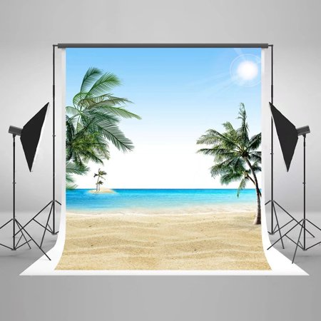 GreenDecor Polyster 5x7ft Beach Photography Backdrops Sea Island Coconut Trees Summer Photo Backgrounds](Beach Photo Backdrop)