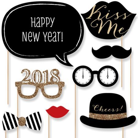 Black And Gold Party Theme (New Years Eve Party - Gold - 2018 New Year's Photo Booth Props Kit - 20 Count)