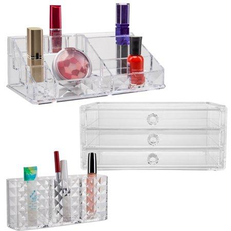Keep Me Organized3pc Cosmetics Organizer Clear Acrylic Makeup Storage Case Drawers Brush Holder - Halloween Makeup Stores Near Me