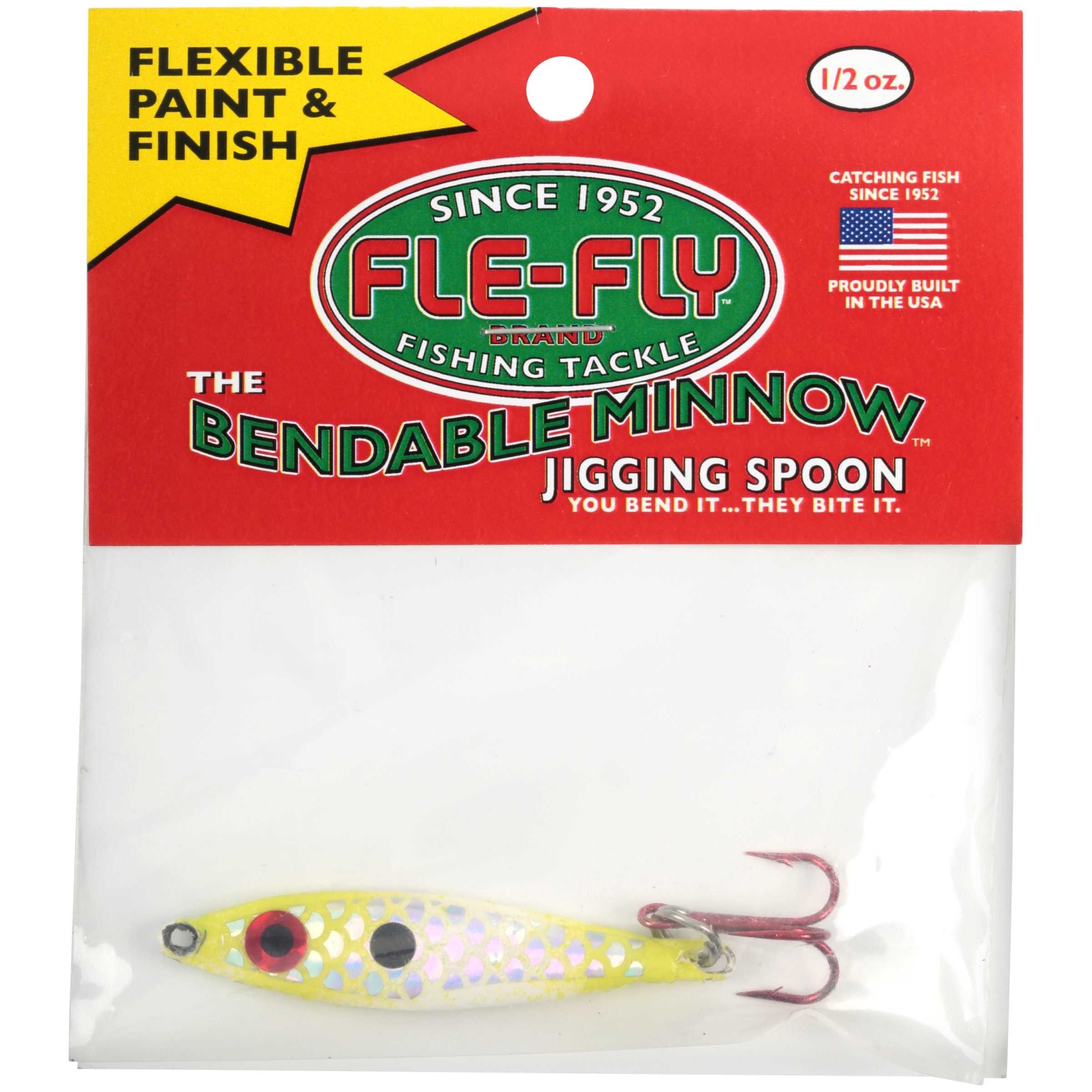 Pack of 6 Fle-Fly 1oz Bendable Minnow Jigging Spoon