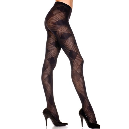 Printed Hosiery - Sheer Pantyhose Large Diamond Pattern, Sheer Pantyhose With Diamond Print