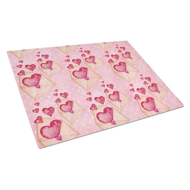 Carolines Treasures BB7568LCB Watercolor Pink Love Letter Glass Cutting Board, Large - image 1 de 1