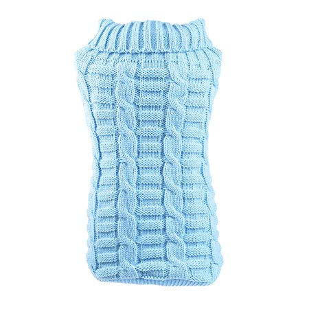 Small Pet Dog Clothes Puppy Cat Sweater Knit Coat Apparel Costume Light Blue, M for $<!---->