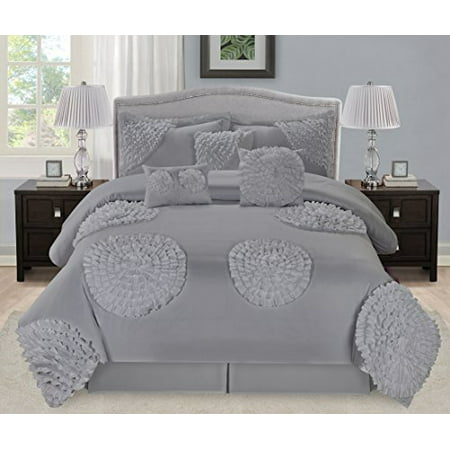 7 piece avalon six big flowers pleated clearance bedding - Queen size bedroom sets clearance ...