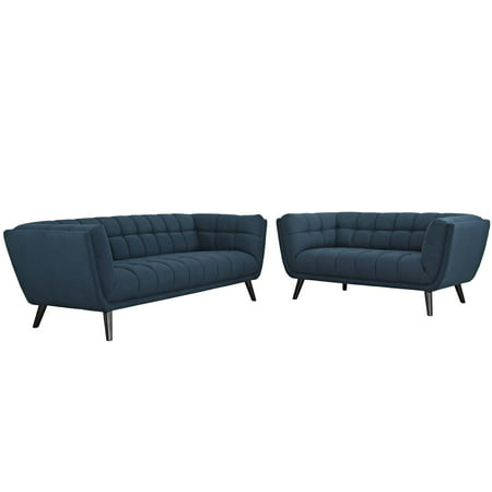Modway Bestow 2 Piece Upholstered Fabric Sofa and Loveseat Set, Multiple Colors (Fabric Set Loveseat)