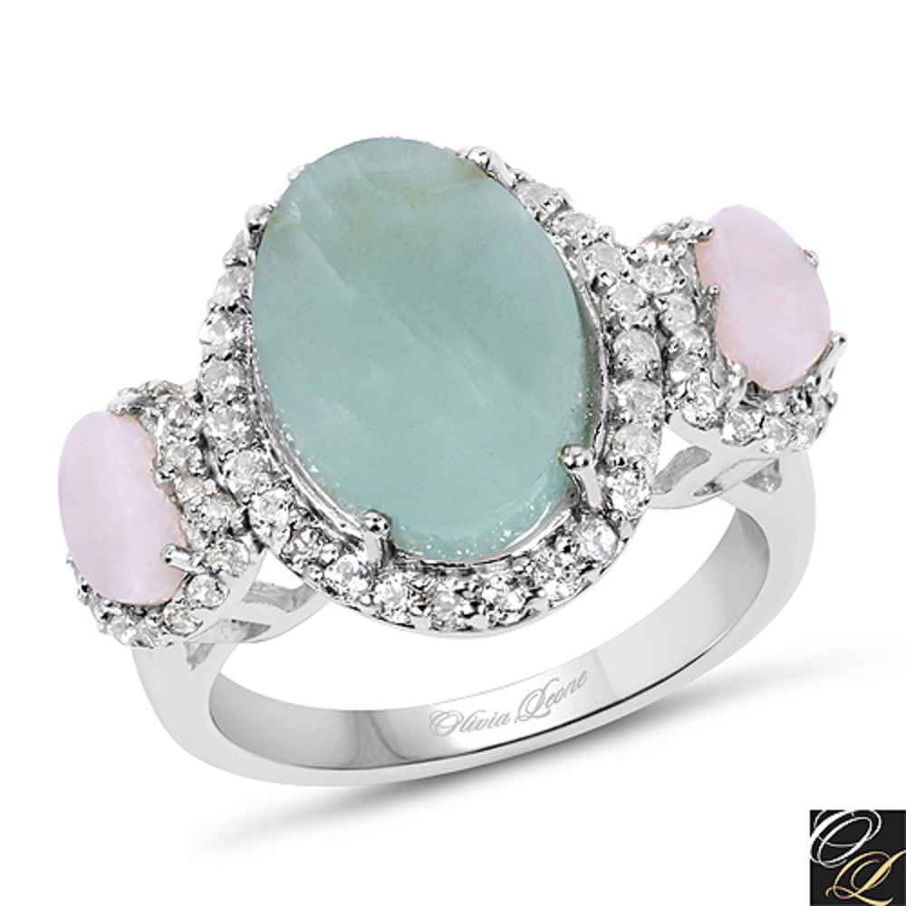 Genuine Fancy shape Aquamarine, Pink Opal and White Topaz Ring in Sterling Silver Size 6.00 by Bonyak Jewelry