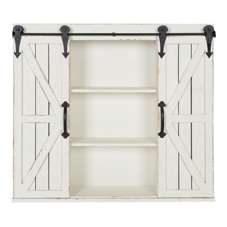 Kate and Laurel Cates Rustic Wood Wall Storage Cabinet with Sliding Barn Doors, Antique-White ()
