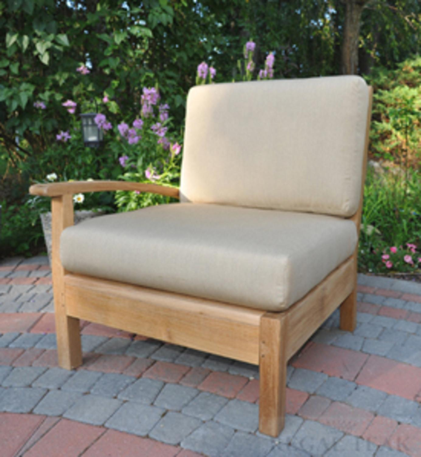 """35"""" Natural Teak Sectional Right Arm Seating Outdoor Chair with Orange Cushions"""