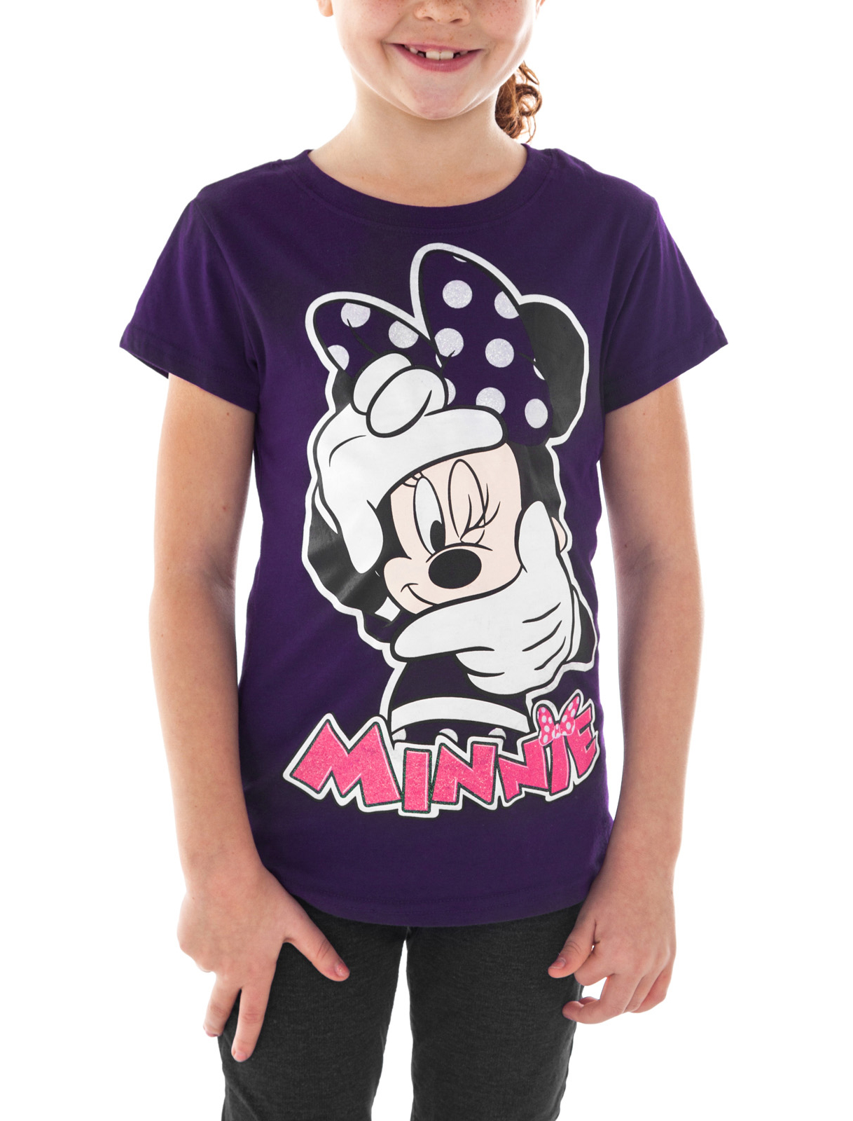 Girls Minnie Mouse Photogenic Short Sleeve T-Shirt Purple
