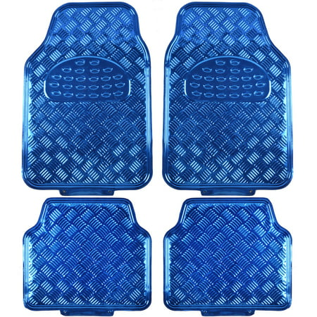 BDK Universal Fit 4-Piece Metallic Design Car Floor Mat - Heavy Duty Protection Full Set
