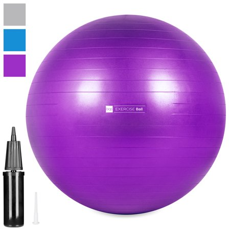 Best Choice Products 65cm/26in Anti-Burst Exercise Fitness Stability Balance Yoga Ball Office Chair w/ Anti-Slip Ridges, Hand Pump, Extra Air Plug - Purple](Ball Office Products)