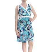 TOMMY HILFIGER Womens Blue Floral Sleeveless V Neck Above The Knee Wrap Dress Dress  Size: 8