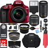 Nikon D3400 24.2 MP DSLR Camera + AF-P DX 18-55mm & 70-300mm VR NIKKOR Lens Kit + Bundle 64GB SDXC Memory + Photo Bag + Wide Angle Lens + 2x Telephoto Lens + Flash + Remote +Tripod+Filters (Red)
