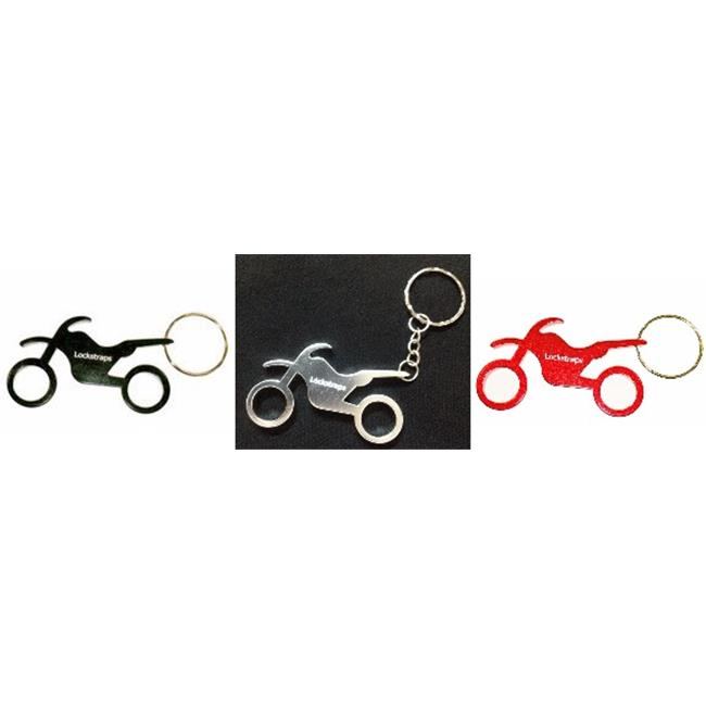 Lockstraps 1004 Motorcycle Key Chain Bottle Opener - 3 Pack, Red, Silver & Black - image 1 of 1