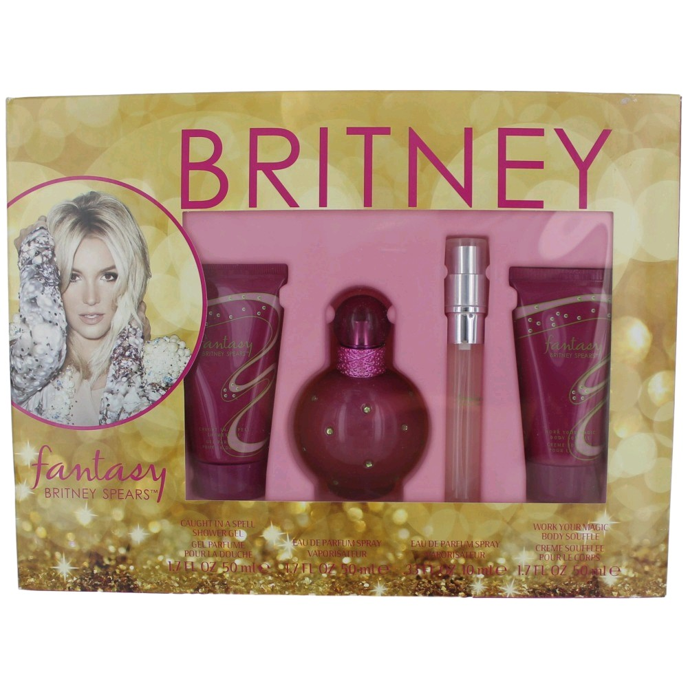 Fantasy Perfume by Britney Spears, 4 Piece Gift Set for Women