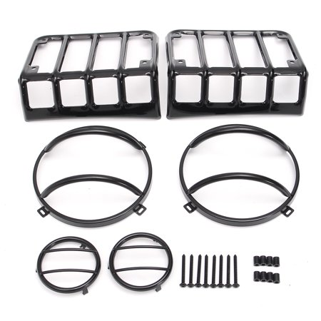 6Pcs Stainless Steel Black Headlight Guards + Turn jeepaccessorie Signal/Tail Light Covers For JK - image 5 of 9
