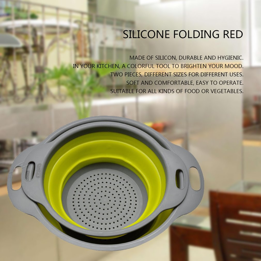 2pcs set Collapsible Net Filter Colander Set Silicone Washing Drying Strainer by konxa