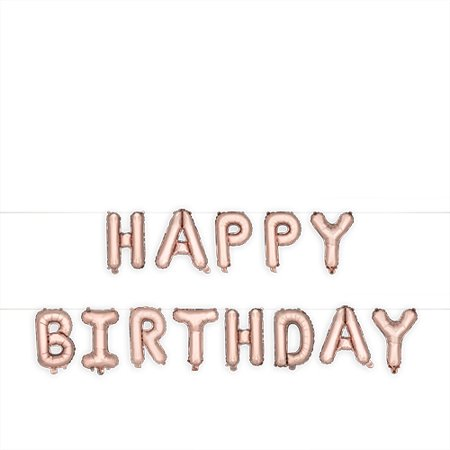 Rose Gold HAPPY BIRTHDAY Mylar Balloon by Cakewalk - Monkey Mylar Balloon