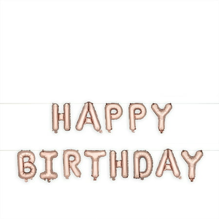 Rose Gold HAPPY BIRTHDAY Mylar Balloon by Cakewalk - Discount Birthday Supplies