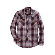 Western Shirt Mens L/S Plaid Pearl Red 10-001-0062-0737 RE