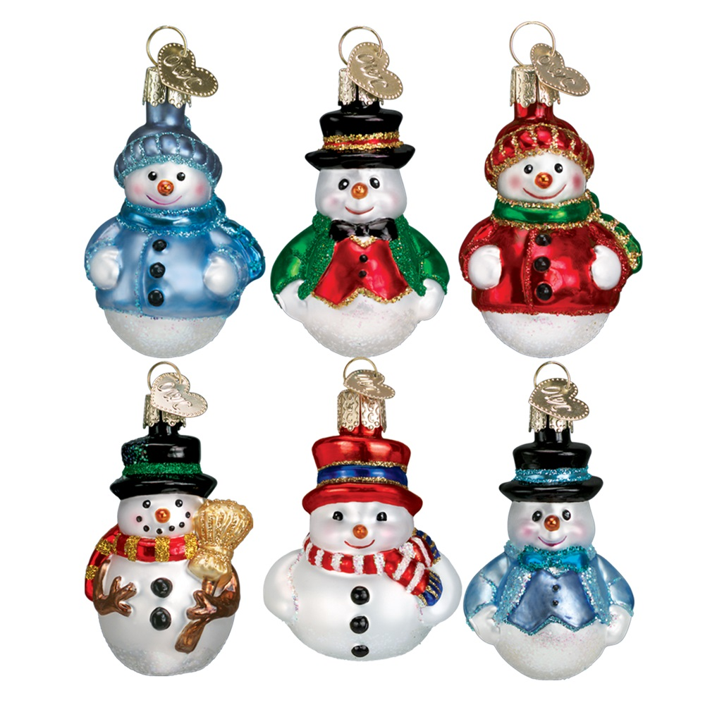 Old World Christmas Miniature Snowman Glass Mini Tree Ornaments Set of 6 14022