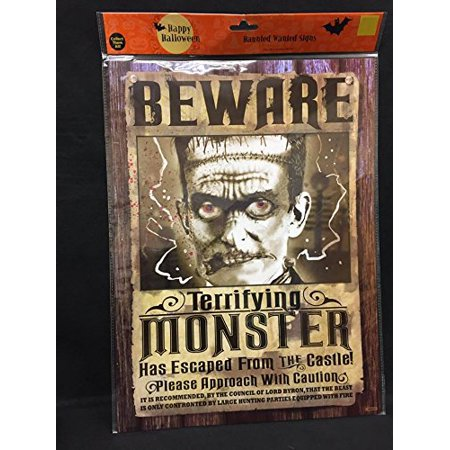 Halloween Haunted Beware Terrifying Monster Sign Party Decoration - Beware Sign Halloween