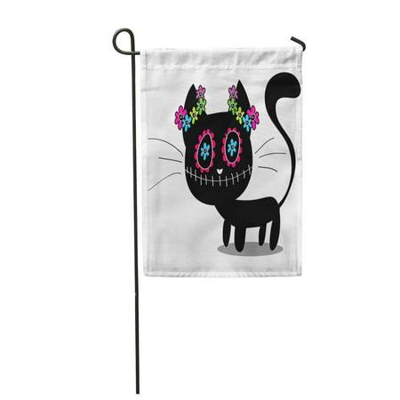 SIDONKU Skull Cute Black Kitten Decorated Flowers Cat Dead Mexico Garden Flag Decorative Flag House Banner 12x18 inch