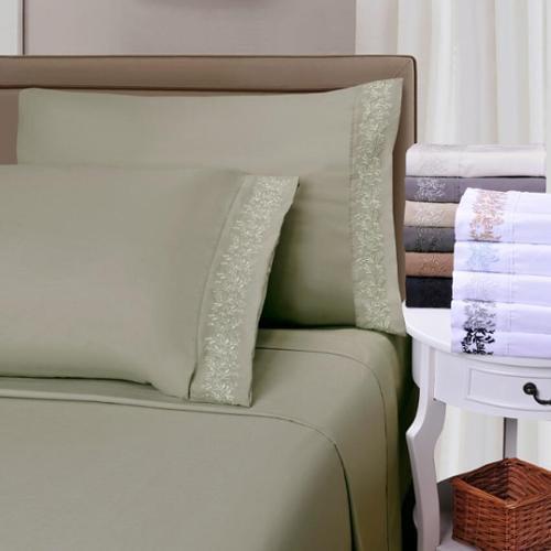 Luxor Wrinkle Resistant Embroidered Floral Lace Deep Pocket Sheet Set with Gift Box Queen Sheet Set - Sage/Sage