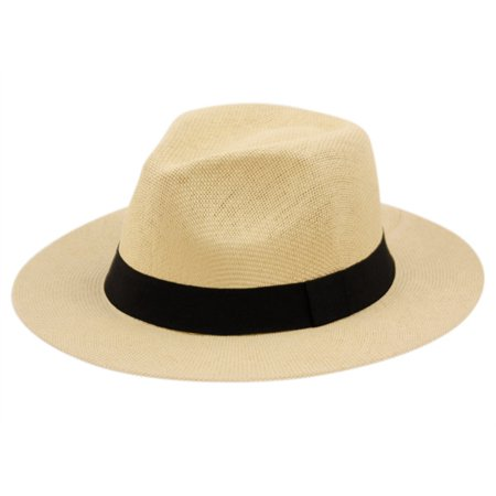 Summer Big Brim Panama Hat Fedora, Classic C Crown Sun Hat with Grosgrain Band