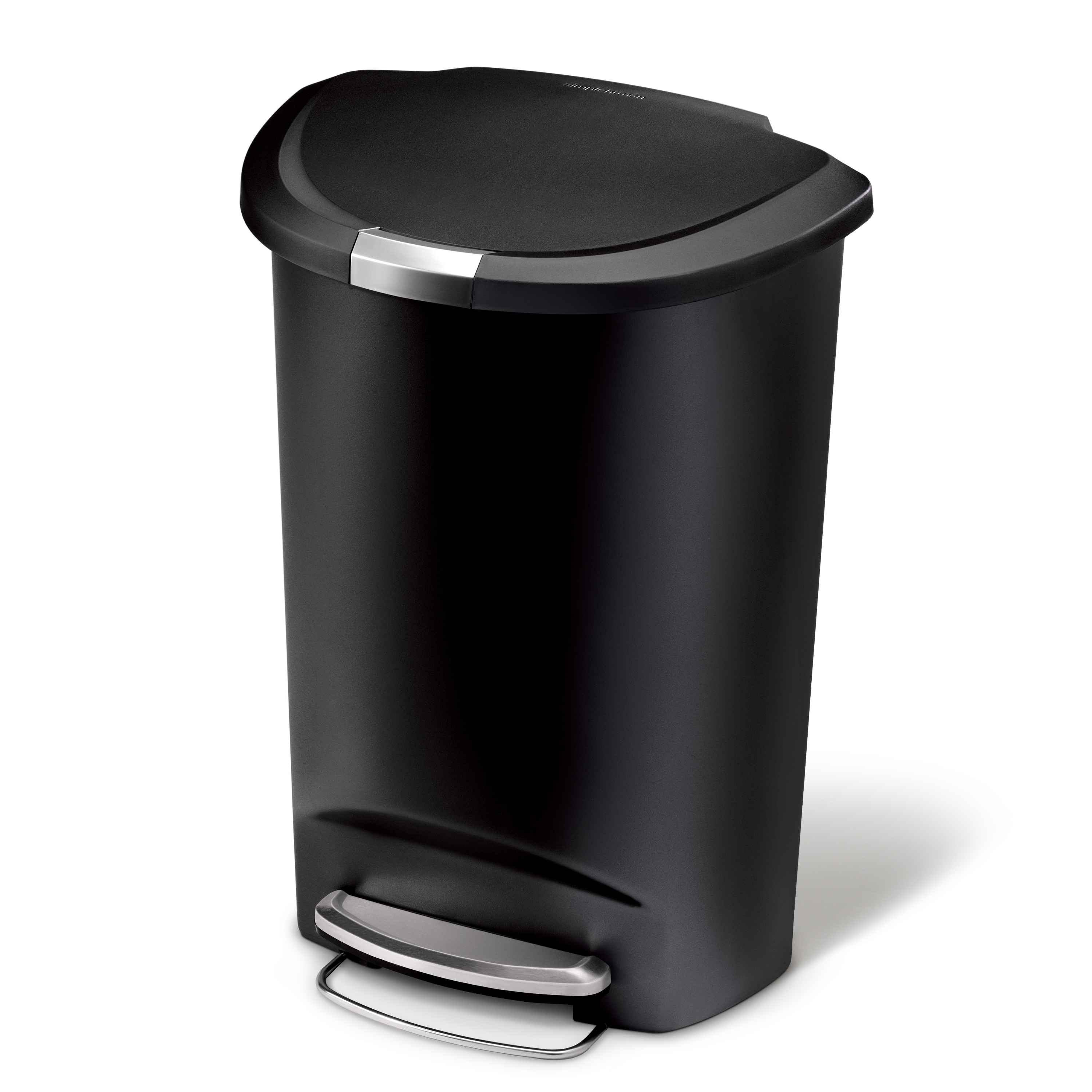 simplehuman 50 litre / 13 gallon semi-round plastic step trash can, black