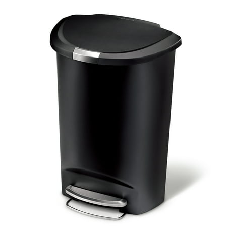 simplehuman 50 litre semi-round step trash can black plastic
