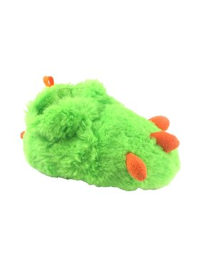Boys Paw Boot Fuzzy Slippers Green Orange Size 3